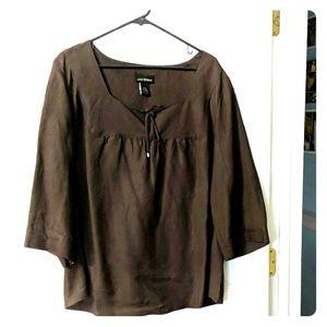 Brown linen/rayon shirt